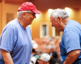Dave Landry | Marvin Katz (left) congratulates breeder Harry Rutherford after purchasing the latter's Kadabra filly for $300,000 to top Thursday's session at Fasig-Tipton.