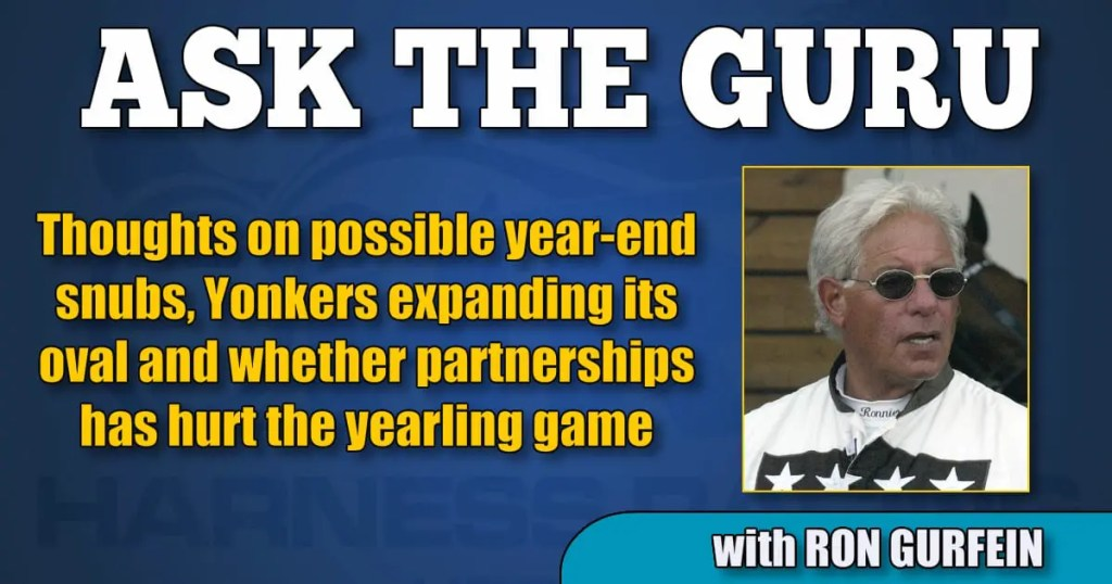 Thoughts on possible year-end snubs, Yonkers expanding its oval and whether partnerships has hurt the yearling game