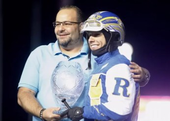 Dave Landry | Sorella and driver Louis-Philippe Roy after Jimmy Freight's Ontario Sires Stakes (OSS) Super Final win in 2018.