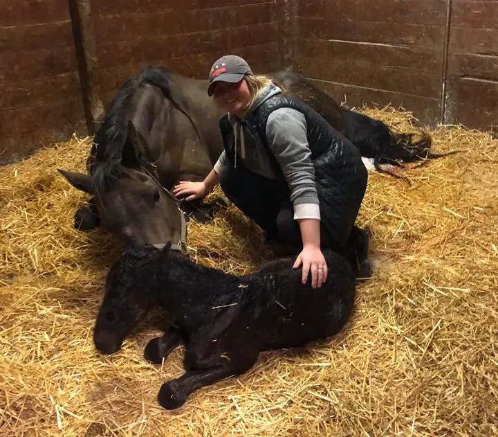 Courtesy Alexis Schwartz | Foaling mares is one of her many talents.