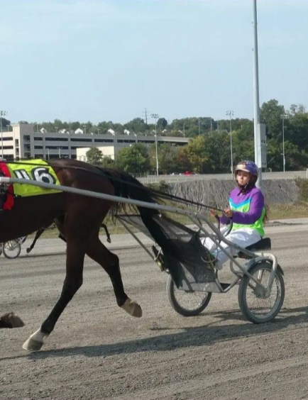 Courtesy Cheyenne Christman | Cheyenne Christman (warming up Natl Guard Hanover in handmade colors designed by her mother) is explaining all things harness racing to her YouTube followers.