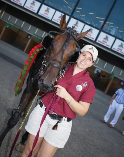 Dave Landry | Shelly Grieco with Market Share after winning the 2012 Hambletonian.