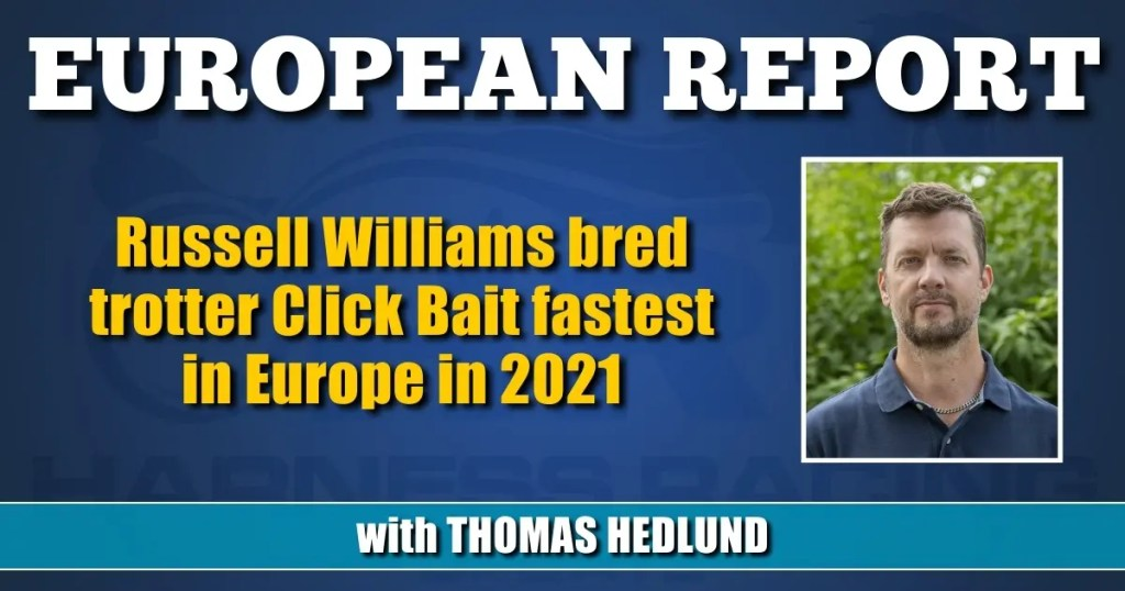 Russell Williams bred trotter Click Bait fastest in Europe in 2021