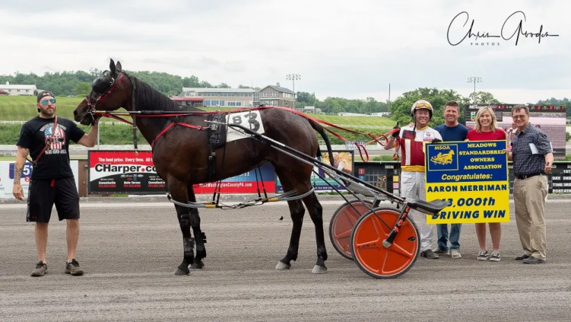 Chris Gooden   On Wednesday afternoon, driver Aaron Merriman scored his 13,000th career win while racing at The Meadows. Merriman is one of the few currently in position to, maybe, one day surpass Palone.