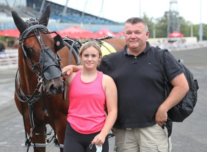 Claus Andersen | Bob Loblaw before Saturday's (Sept. 4) race card at Woodbine Mohawk Park with Ken Middleton, Jr. and his niece Kendal Middleton.