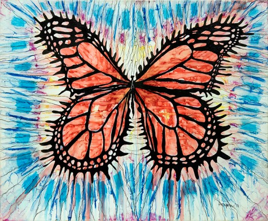 "Bright monarch butterfly bursting through blues. This piece is done with sharpie and alcohol on 24"" X 20"" canvas. It is enttitled ""I can survive the deepest hurt"""