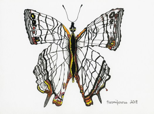 Meditative/contemplative drawing of Indian butterfly on 6x8 card. Staedler pens and fineliner markers. Prints available.