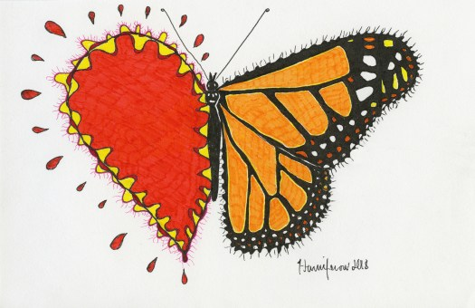 Meditative/contemplative drawing of half heart, half butterfly drawing on 6x8 card.