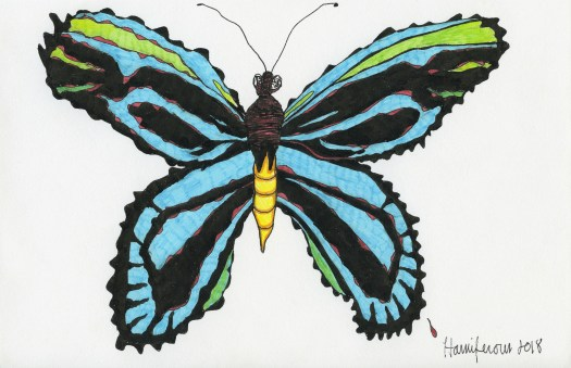 Meditative / Contemplative Drawing of a Blue Butterfly on 6X8 card using Staedler pens and Fineliner markers