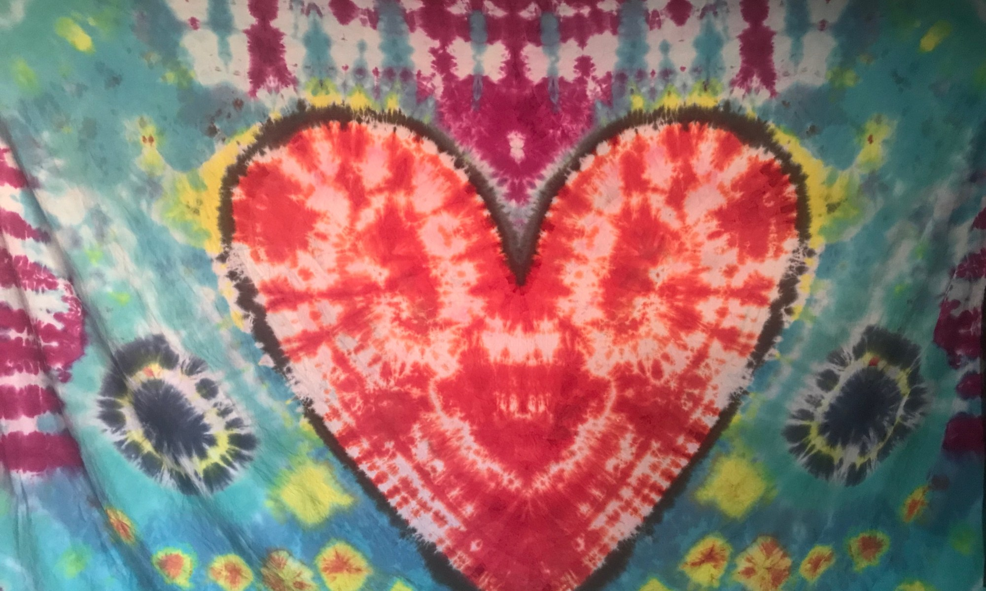 """Handmade Heart Tapestry on 70"""" x 100"""" cotton fabric using Procion Dyes"""