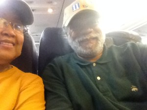 Cynthia Harvey and Harold Michael Harvey on plane to Cincy 2013