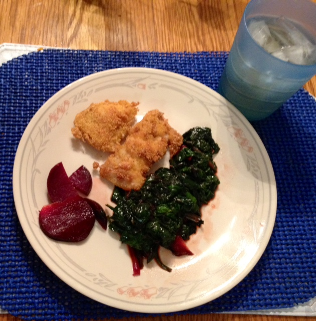 Cod fried in pecan meal,sauteed mustard greens and beets from the garden out back.
