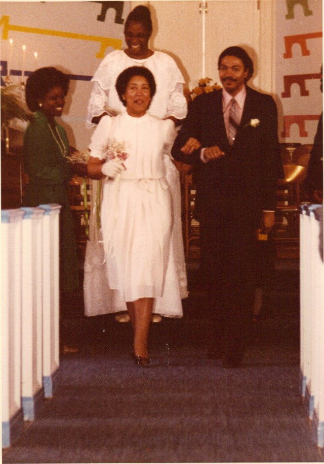 Angel Irving, Cyn Harvey, Harold Michael Harvey and Dr. Barbara King following wedding services at Hillside Chapel and Truth Center, November 21, 1981 Photo Credits: Willis Perry