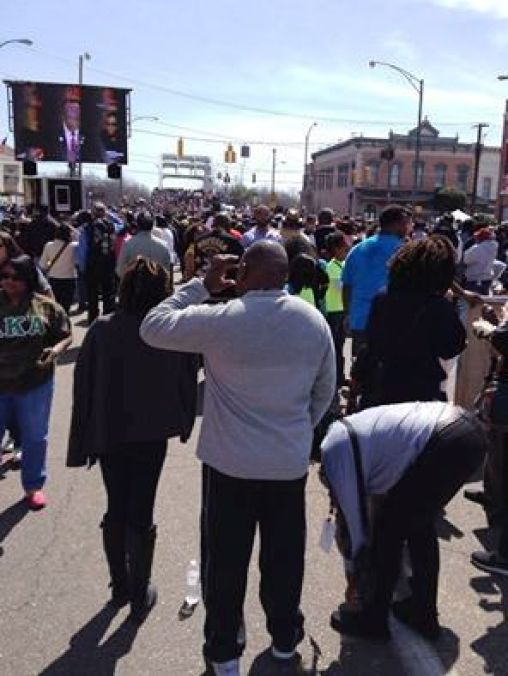 Several hundred thousand people showed up in Selma , Alabama, March 8, 2015 to observe the 50th Anniversary of Bloody Sunday.