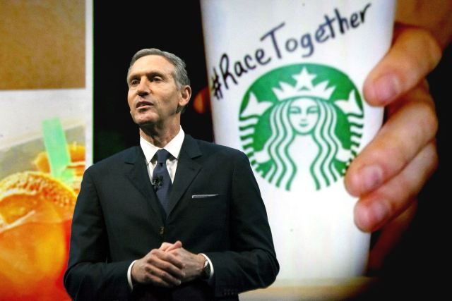 Starbucks CEO Howard Schultz defends his company's Race Together campaign on racial discussions. Photo Credits Post-Gazette.com
