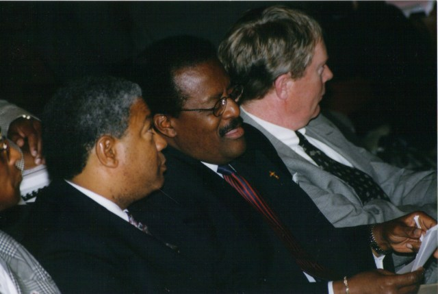Harold Michael Harvey and Johnnie Cochran sharing a moment at a Gate City Bar Association's Continuing Legal Education Seminar, November 1997 in Atlanta, Georgia. Photo Credits: The Harvey Law Firm