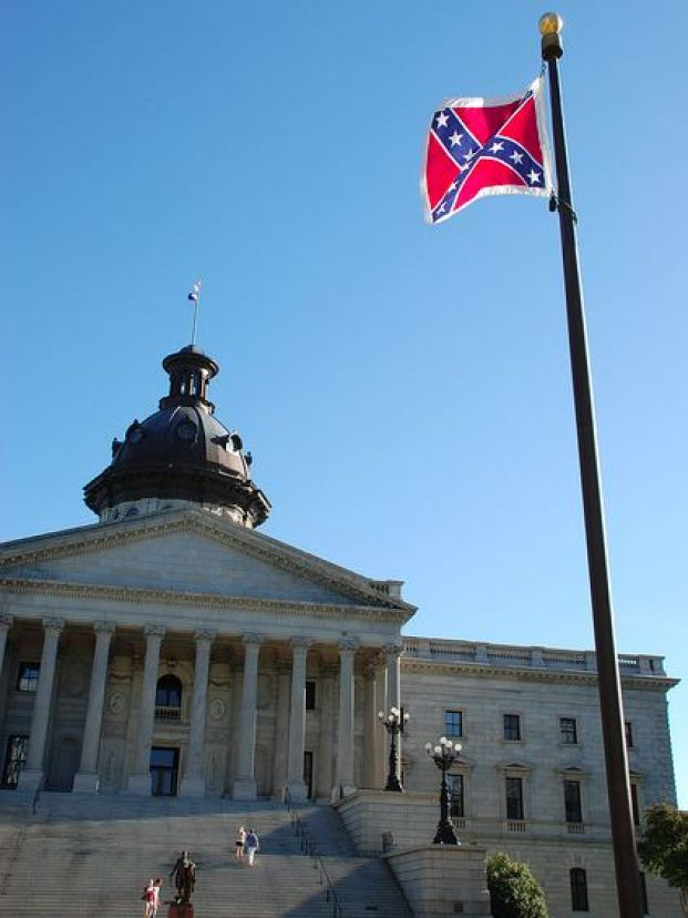 The flag of the failed Confederate States of America flying over the South Carolina capital. It may come down as soon as Friday, July 10, 2015, as the South Carolina House of Representative passed a bill previously approved in the senate for its removal.