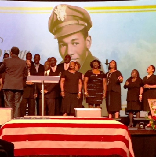 Lt. Calvin J. Spann flag draped coffin during memorial services held at Fellowship Christian Center, Carrollton, Texas on September 12, 2015. Photo Credits: (c) 2015 Harold Michael Harvey