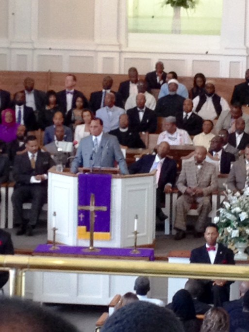 """Minister Louis Farrakhan speaking to a group at West Hunter Street Baptist Church in Atlanta, Georgia seeking to drum up support for his """"Justice or Else"""" March to commemorate the 20th anniversary of the Million Man March. Photo Credits: (c) 2015 Harold Michael Harvey"""