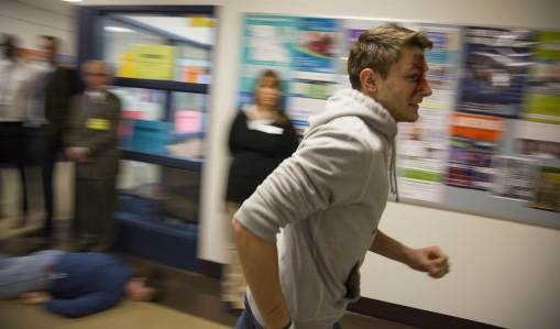 If you are confronted with an active shooter situation, your first option should be to run away from the vicinity of the active shooter. Photo from internet