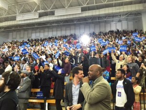 Bernie Sanders Rally Morehouse Crowd Waving signs 2 16 16