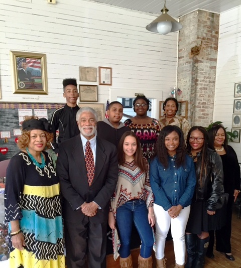 Harold Michael Harvey and a youth group in Cartersville, Georgia who came out to hear Harvey speak on justice in America during Black History Month Observance, February 28, 2016 Photo Credit: Cyn Harvey