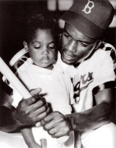 Jackie Robinson with Son and Bat