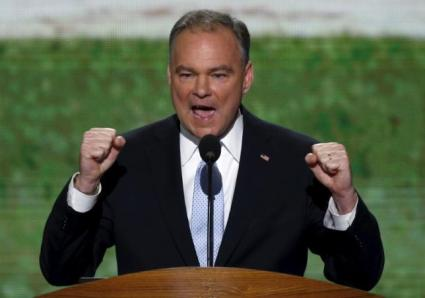 U.S. Senator and former Virginia Governor Tim Kaine addresses the first session of the Democratic National Convention in Charlotte, North Carolina, U.S. September 4, 2012.  Kaines' announcement as Clinton's 2016 VP Pick takes the convention bounce away from Donald Trump. REUTERS/Jason Reed/File Photo