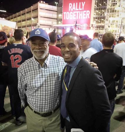 In 1996 the father takes his 11 year old son to game 4 of the World Series pitting the Atlanta Braves against the New York Yankees. Twenty years later, the son invites his dad to game 7 featuring the Chicago Cubs and the Cleveland Indians. L_R Harold Michael Harvey and Coley Harvey Photo Credits: (c) 2016 Cascade Publishing House