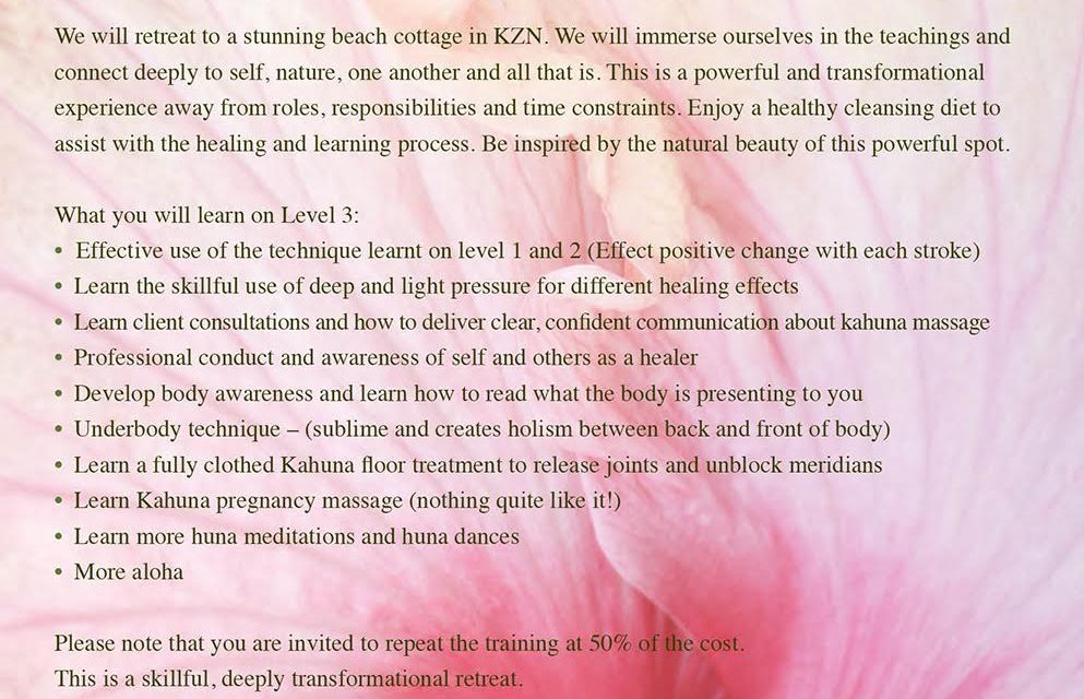 KaHuna Massage Level 3 Advanced Bodywork Salt Rock Beach KwaZulu Natal South Africa July 2016