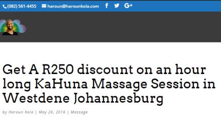 Get A R250 discount on an hour long KaHuna Massage Session in Westdene Johannesburg
