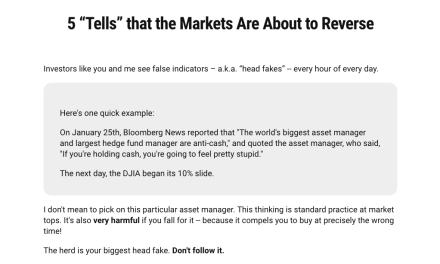 """New free report: 5 """"Tells"""" that the Markets Are About to Reverse"""