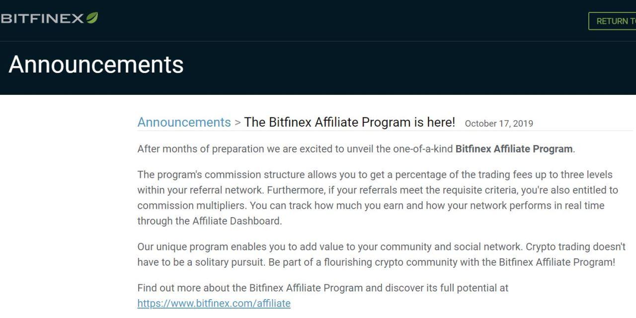Bitfinex Launches Affiliate Program