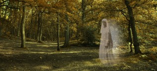 Ghostly figure gliding through Autumn Forest - Wide autumnal woodland scene with a transparent glowing female ghost wafting across from right side staring out and late evening lighting
