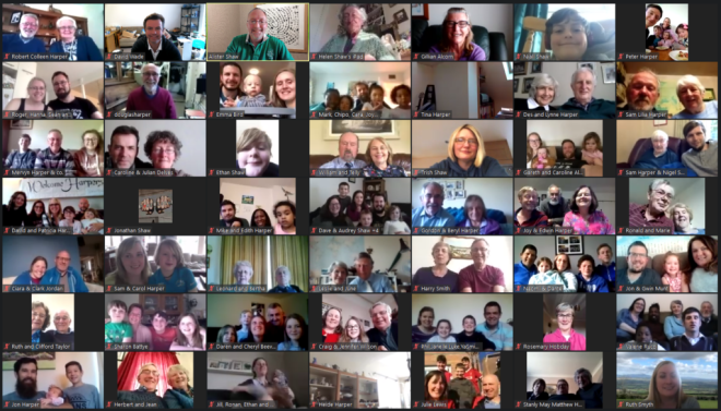 A 7 by 7 grid of Harper family faces on the online video conference call