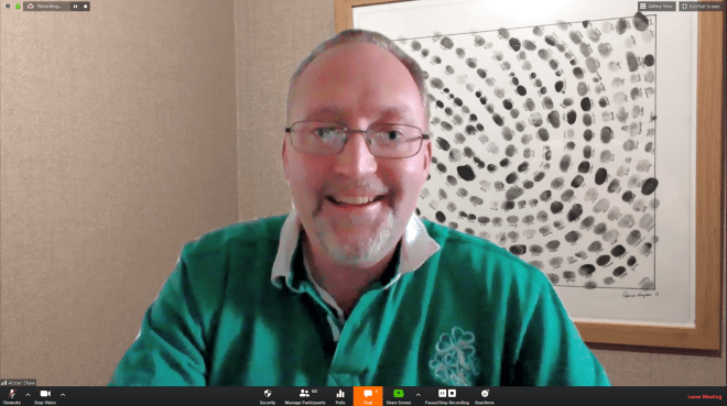 Alister Shaw hosting the online video conference call on Zoom.