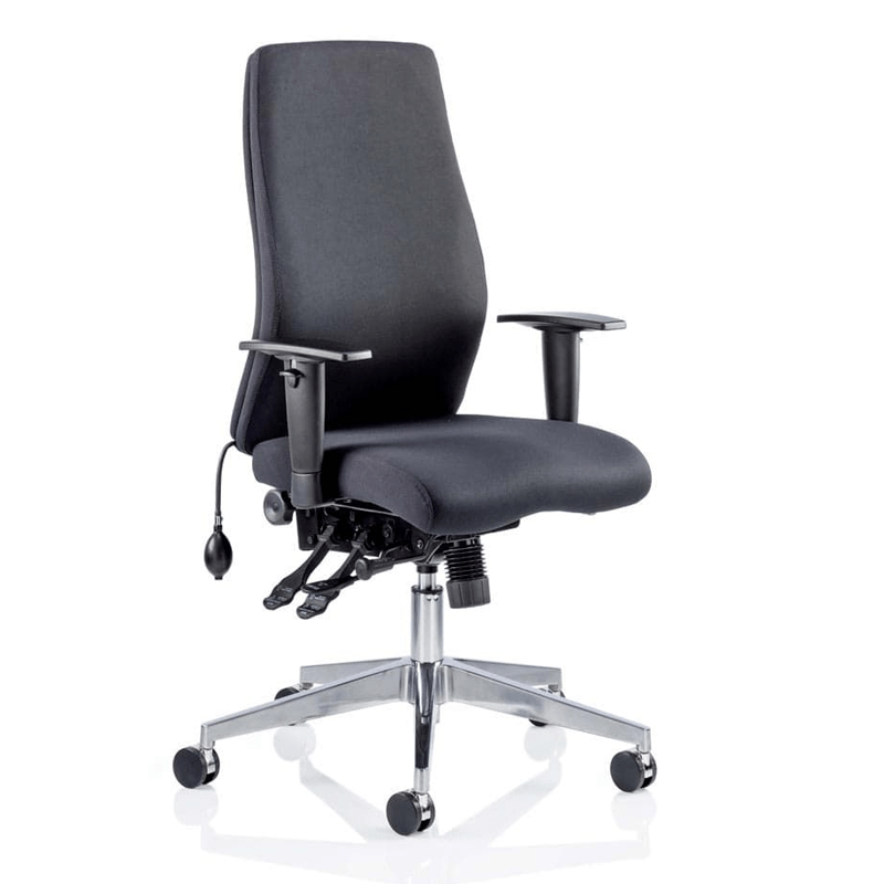 The Onyx chair is a fresh, contemporary office chair that offers a range of inspired features such as a multi-functional asynchronous mechanism with multiple adjustments and a contoured foam seat and back for extra support and comfort. The Onyx is a top choice for a posture task chair. Available in black or blue fabric and bonded leather upholstery options. Optional headrest variant available