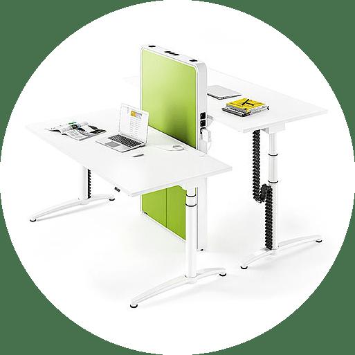 A sit stand desk in the office desks and computer desks range