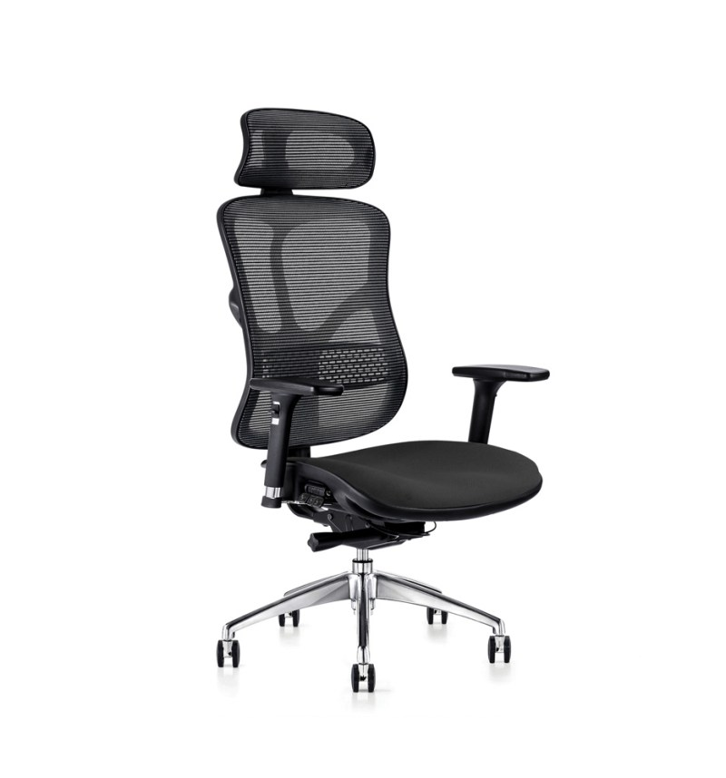 F94 ergonomic chair with fabric seat and executive headrest