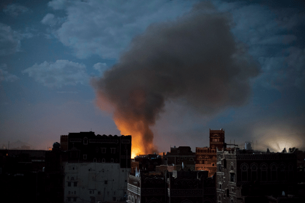 Smoke from an air strike on the al-Oradi Hospital, Sanaa, Yemen, June 9, 2015. Photograph by Alex Potter