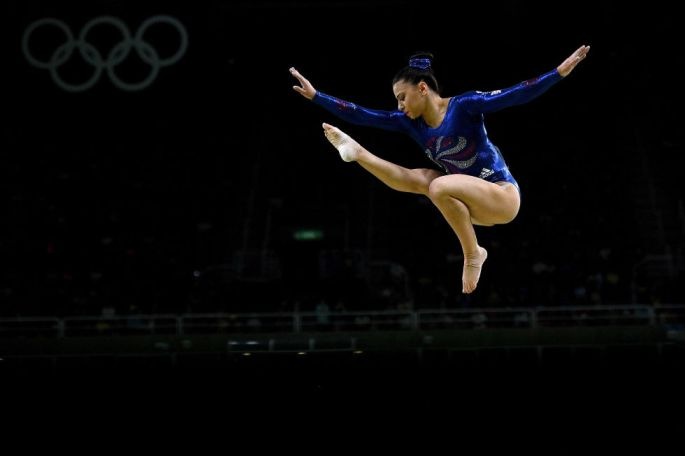 Day two: Claudia Fragapane of Great Britain competes on the balance beam.