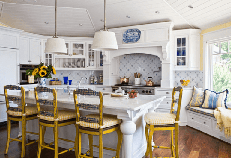 Country French White Kitchen Cabinets