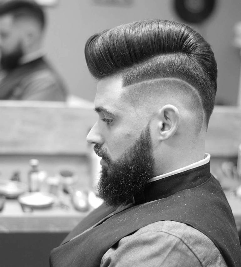 Hi Lo Fade + Surgical Part + Pompadour 19