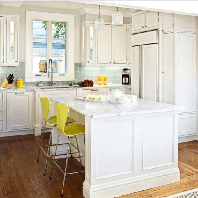 White Kitchen Cabinets With Edgy Color