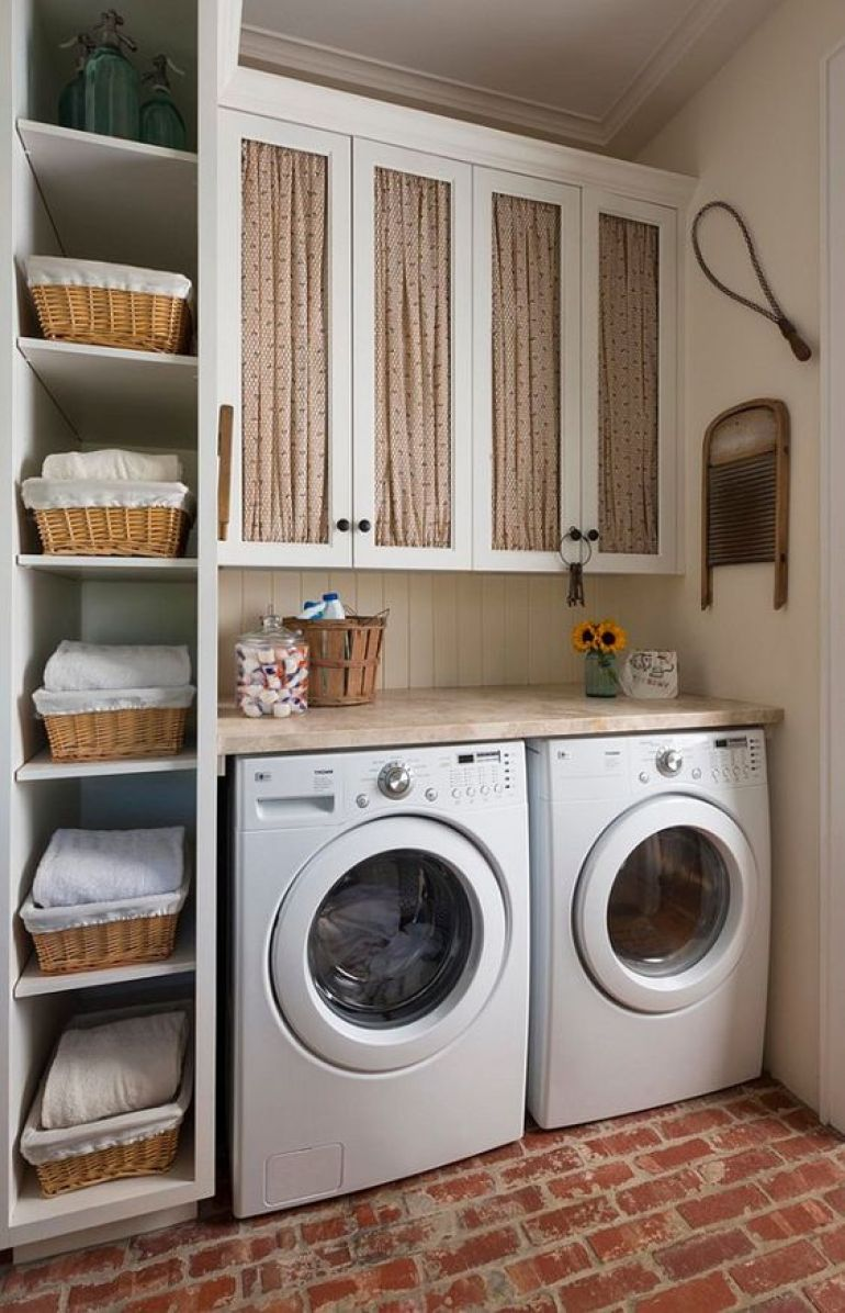 Vertical Open Shelves for Small Laundry Room Design