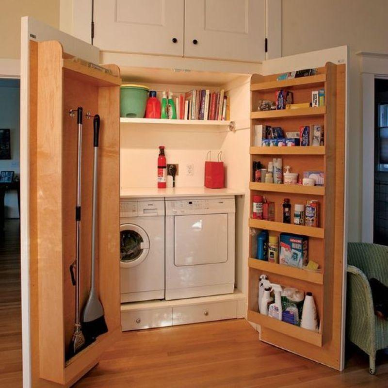 Behind the Door Shelves Laundry Room Ideas