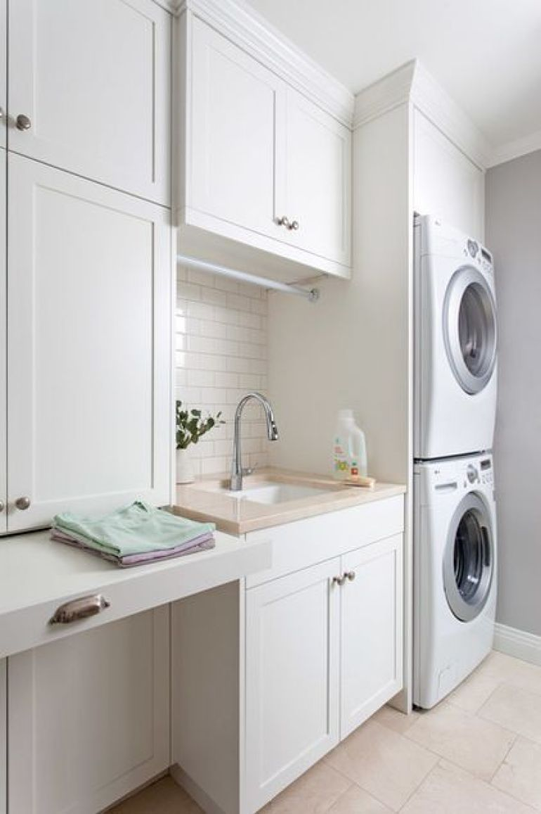 White and Organised Laundry Room Ideas