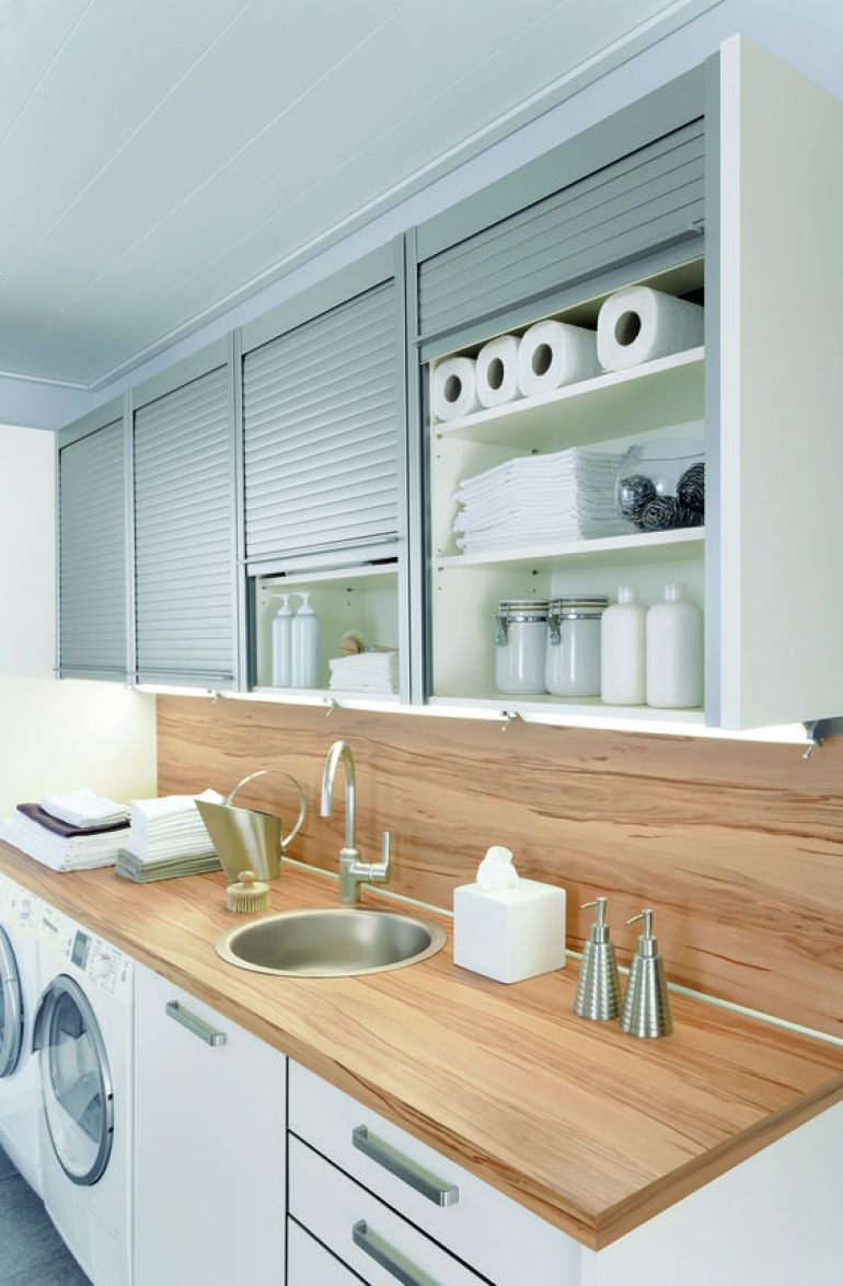 Laundry Room Ideas - Industrial Pull-up Cabinet Doors