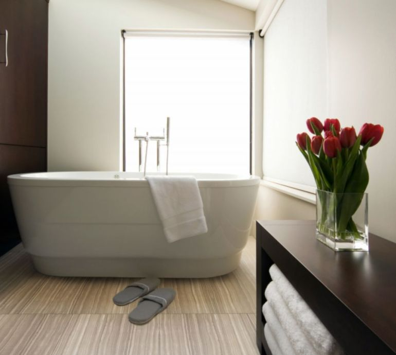 Small Bathroom Decor Ideas Larger Sized Tiles Make Small Bathrooms Feel Less Cramped