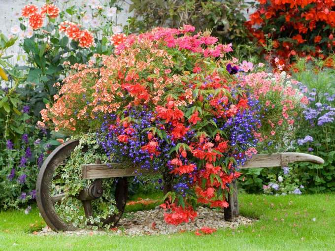Front Yard Landscaping Ideas Cottage-Style Planted Wheelbarrow - harpmagazine